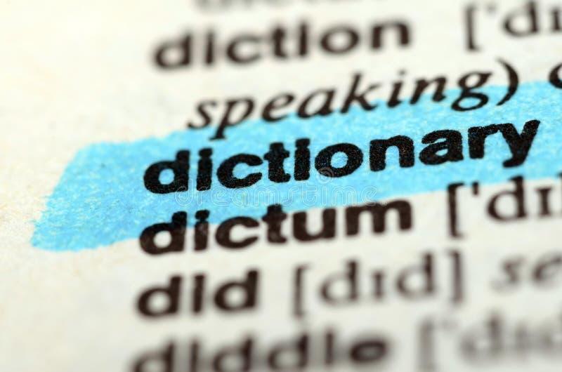 Parola del dizionario, fine su fotografia stock libera da diritti