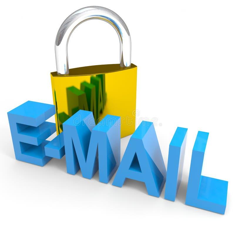 Parola del EMAIL e del lucchetto. Concetto di sicurezza del Internet. illustrazione vettoriale