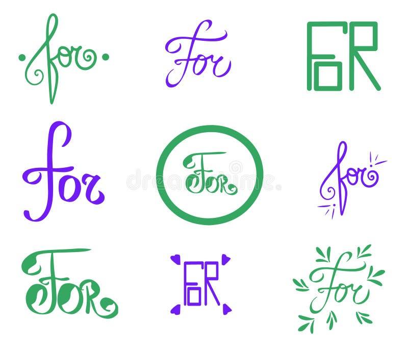 Parola del fermo di vettore per Carta disegnata a mano dell'illustrazione viola verde Stile d'annata della lettera dell'estratto  illustrazione vettoriale