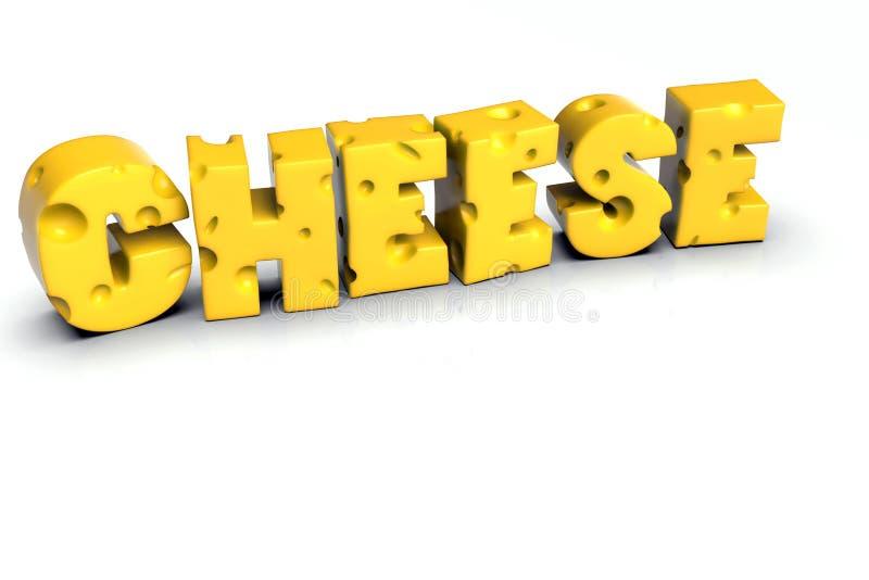 Parola del formaggio scritta nelle lettere gialle svizzere del formaggio fotografia stock libera da diritti