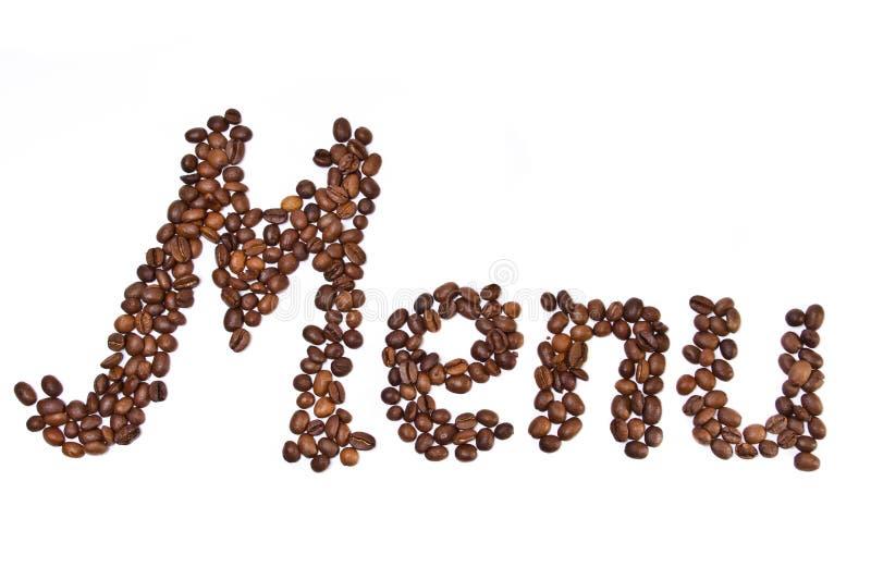 Parola del menu scritta dai chicchi di caffè immagini stock libere da diritti