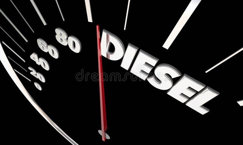 Parola del tachimetro del motore di potere del combustibile diesel illustrazione di stock