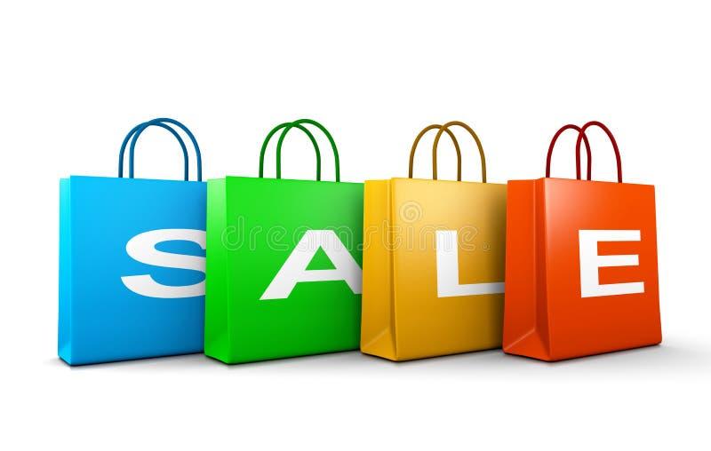 Parola del testo di vendita sui sacchetti della spesa illustrazione vettoriale