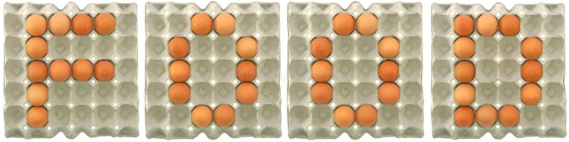 Parola dell'ALIMENTO dalle uova in vassoio fotografia stock libera da diritti