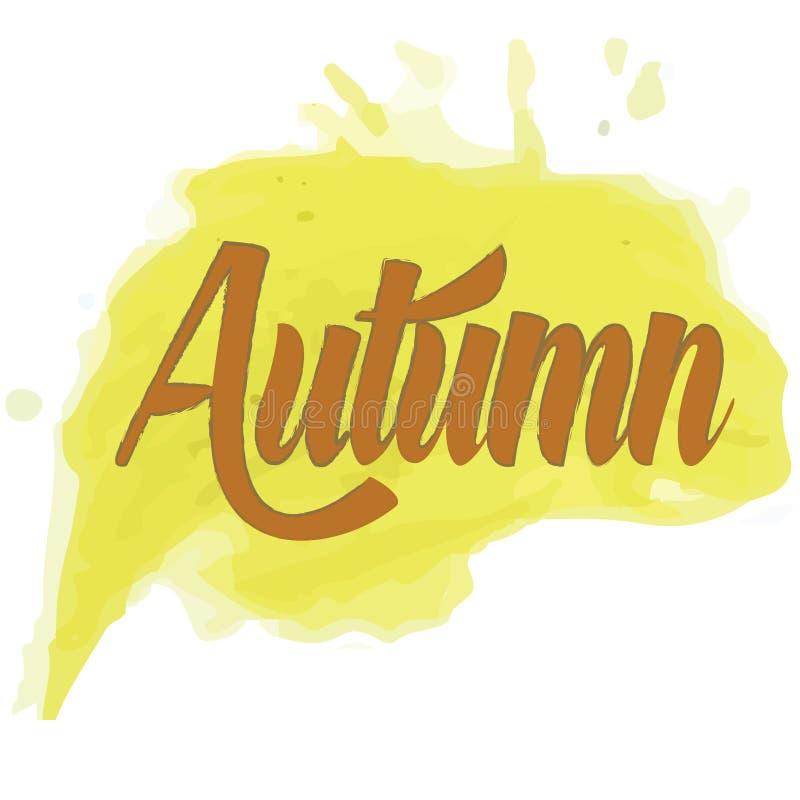 Parola dell'autunno sulla pittura dell'acquerello royalty illustrazione gratis