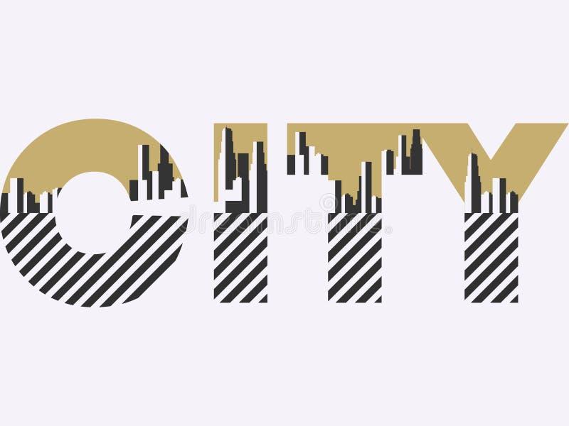 Parola della città con le figure geometriche nello stile della Bauhaus Retro manifesto Insegna tipografica con architettura Vetto illustrazione di stock