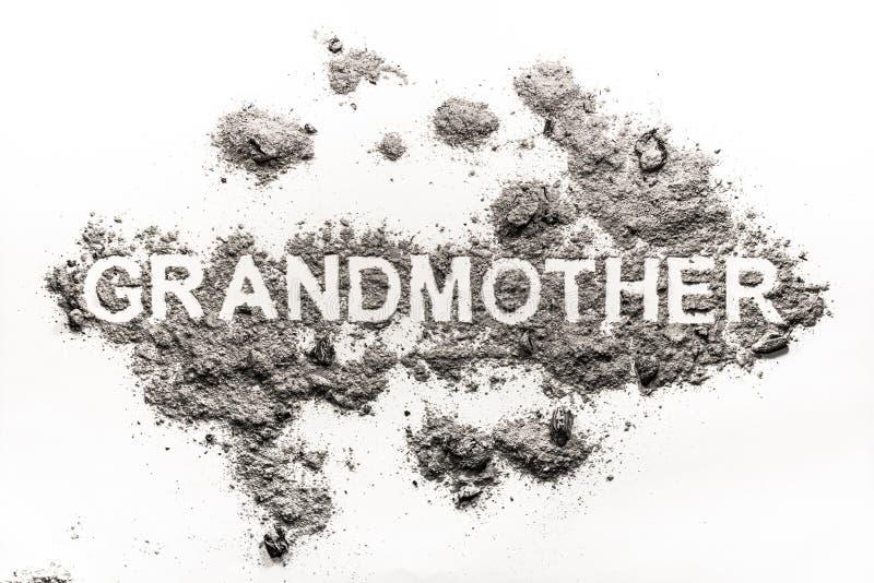 Parola della nonna scritta in cenere come cremazione della famiglia della donna anziana fotografie stock