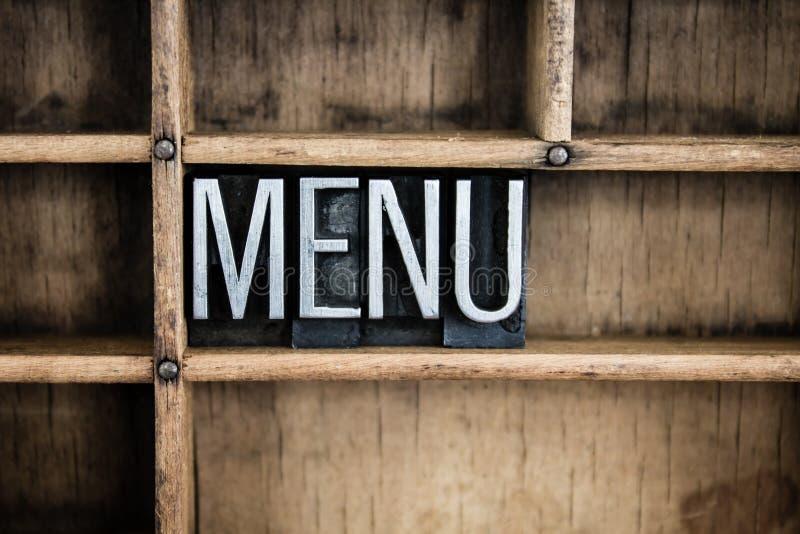 Parola dello scritto tipografico del metallo di concetto del menu in cassetto fotografie stock libere da diritti