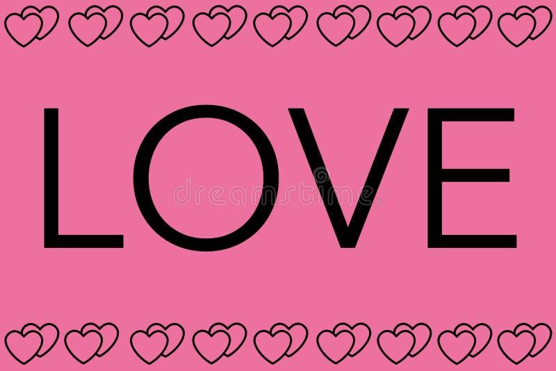 Parola di amore con fondo rosa I cuori progettano come confine Può essere usato per gli articoli, la stampa, lo scopo dell'illust royalty illustrazione gratis