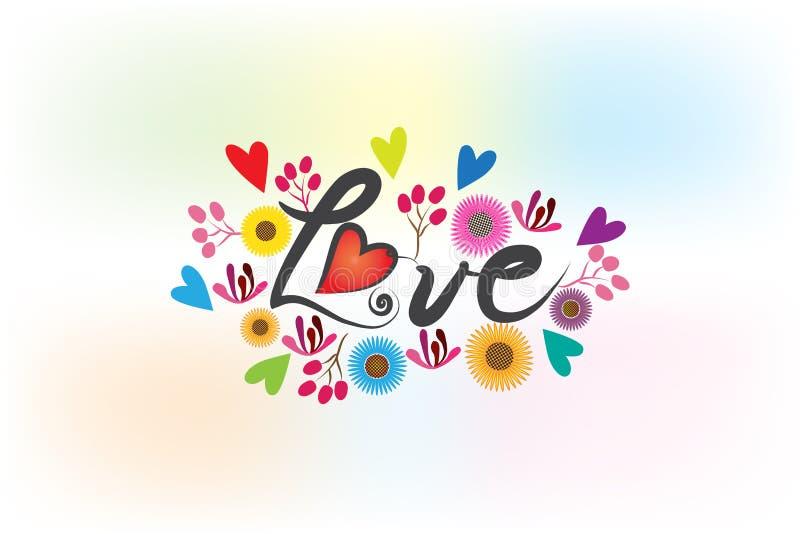 Parola di amore fatta con i fiori ed il logo dei cuori royalty illustrazione gratis
