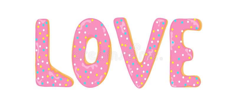 Parola di amore fatta dalle lettere delle guarnizioni di gomma piuma illustrazione vettoriale