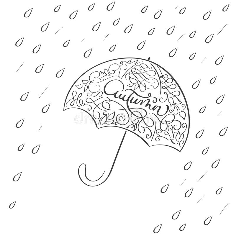 Parola di autunno in ombrello d'annata dell'illustrazione con pioggia su fondo bianco Vettore disegnato a mano dell'iscrizione di illustrazione vettoriale