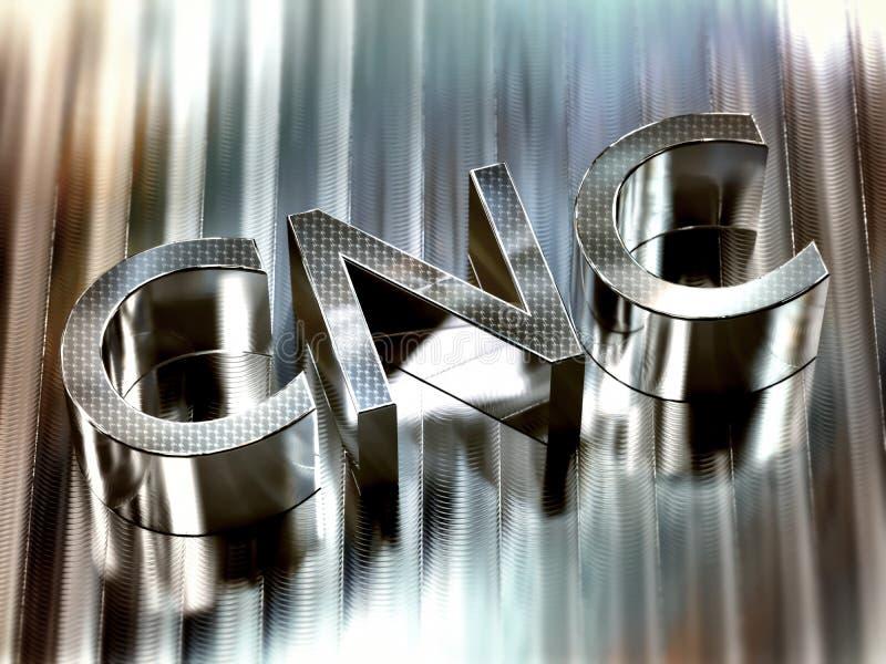Parola di CNC 3d lavorata sulla superficie dell'alluminio - concetto di controllo numerico del computer royalty illustrazione gratis