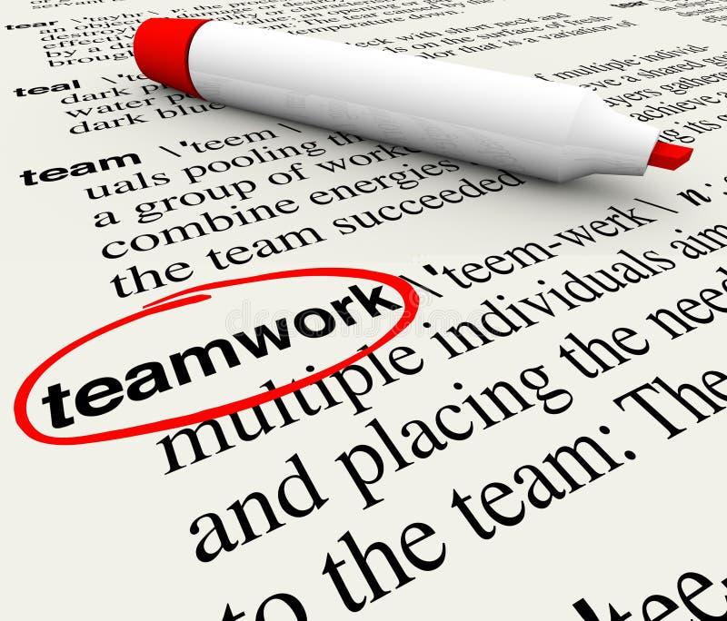 Parola di definizione di dizionario di lavoro di squadra circondata illustrazione vettoriale