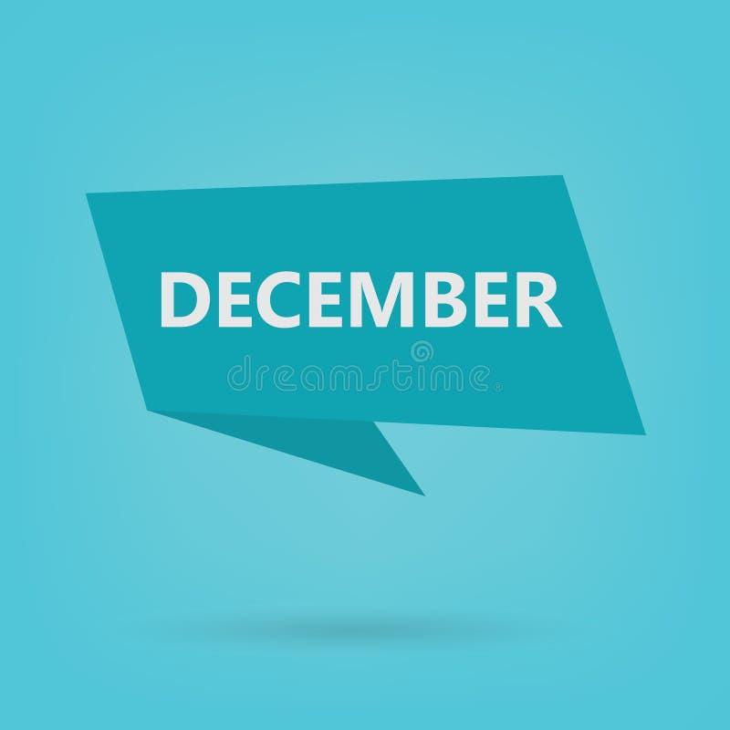 Parola di dicembre su un autoadesivo illustrazione vettoriale
