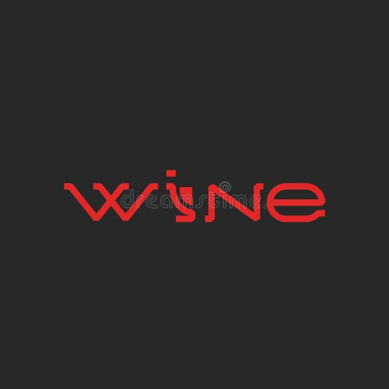 Parola di logo del vino, modello che segna il menu con lettere della lista dell'alcool, carta della decorazione dell'elemento di  illustrazione vettoriale