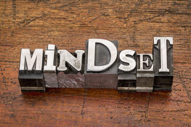 Parola di Mindset nel tipo del metallo fotografie stock libere da diritti