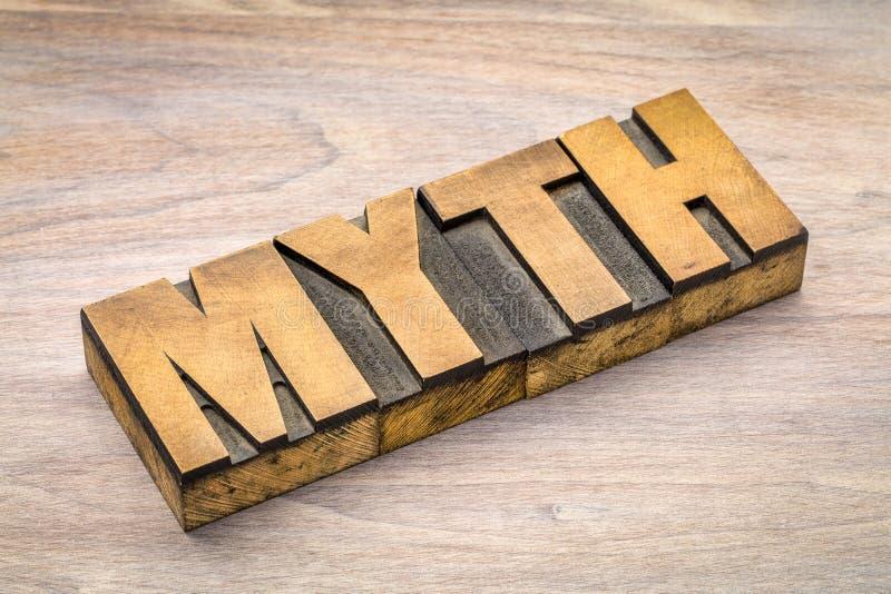 Parola di mito nel tipo di legno dello scritto tipografico immagini stock libere da diritti
