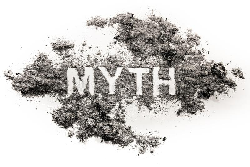 Parola di mito scritta in cenere o polvere immagine stock libera da diritti
