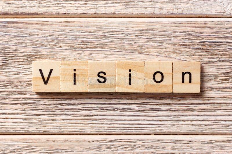Parola di visione scritta sul blocco di legno Testo sulla tavola, concetto di visione fotografia stock libera da diritti
