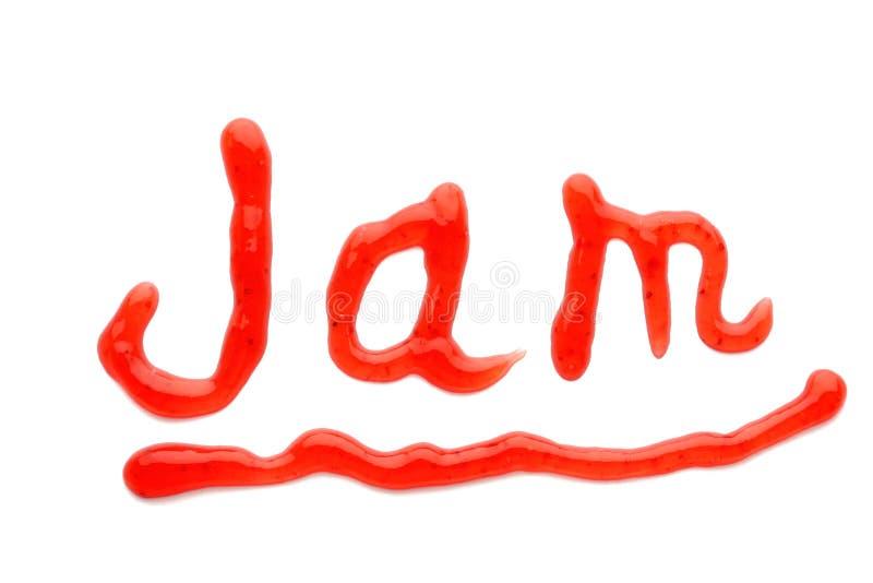 Parola disegnata con l'inceppamento di fragola saporito su fondo bianco immagini stock