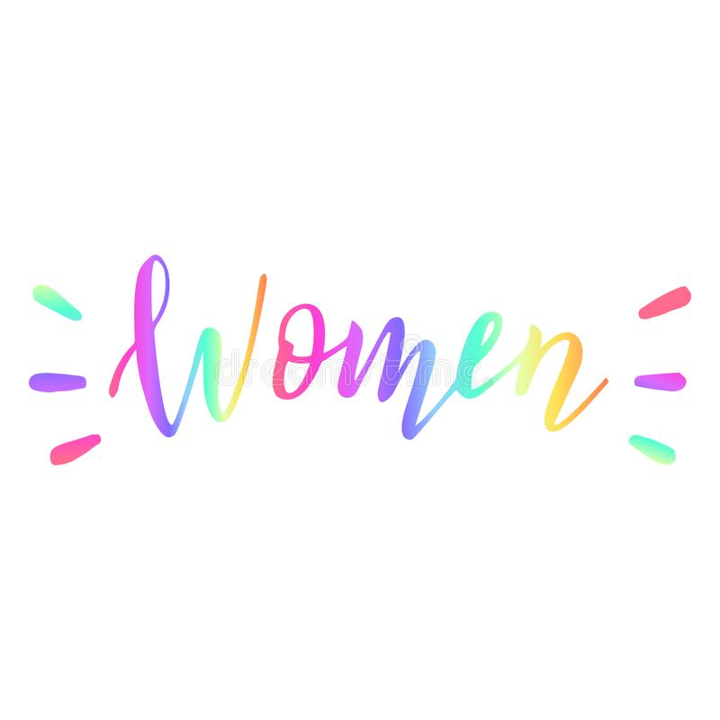 Parola disegnata a mano delle donne dell'arcobaleno Concetto di diversit? illustrazione di stock
