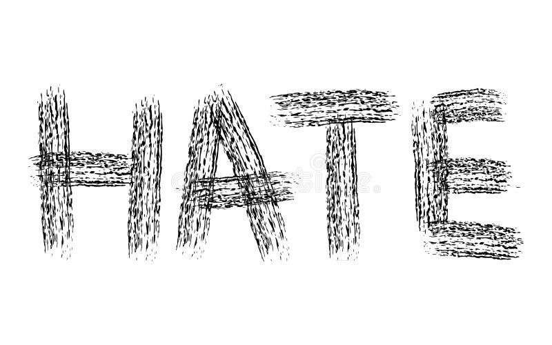 Parola disegnata a mano ODIO di lerciume della spazzola sporca del carbone illustrazione vettoriale