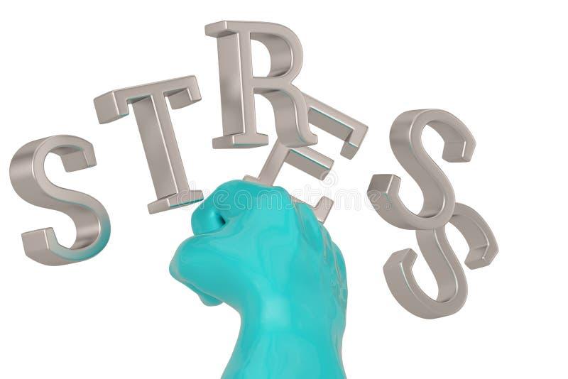 Parola e pugno di sforzo isolati su fondo bianco illustrazione 3D illustrazione vettoriale