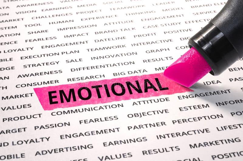 Parola emozionale evidenziata con l'indicatore su carta immagine stock
