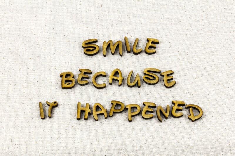 Parola felice sorridente di tipografia di gioia di esperienza del fronte di sorriso immagine stock libera da diritti