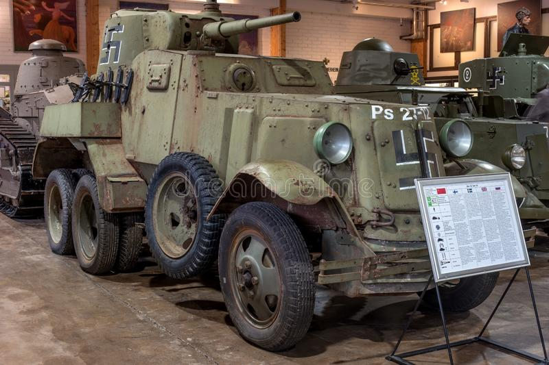 Parola, Finland - May 2, 2019: Tank Museum in the city of Parola. Soviet armored car BA-10. This copy was captured by stock photo