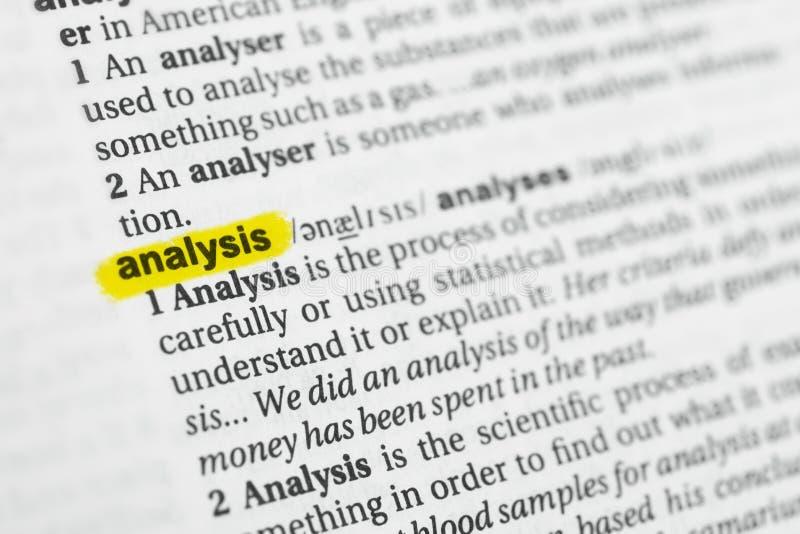 Parola inglese evidenziata & x22; analysis& x22; e la sua definizione al dizionario fotografia stock libera da diritti