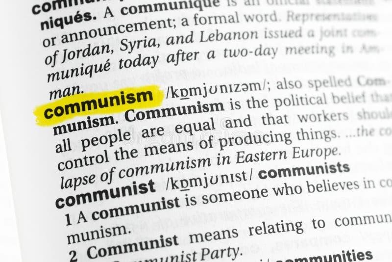 Parola inglese evidenziata & x22; communism& x22; e la sua definizione al dizionario fotografia stock libera da diritti