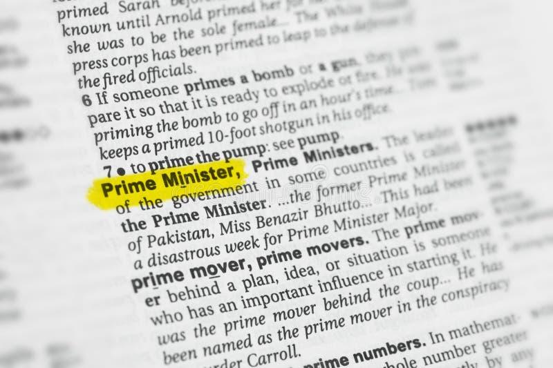 Parola inglese evidenziata & x22; Minister& principale x22; e la sua definizione al dizionario fotografia stock libera da diritti