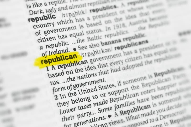 Parola inglese evidenziata & x22; republican& x22; e la sua definizione al dizionario fotografia stock libera da diritti