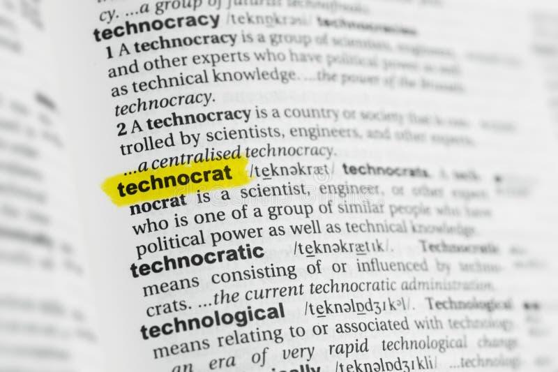 Parola inglese evidenziata & x22; technocrat& x22; e la sua definizione al dizionario fotografia stock