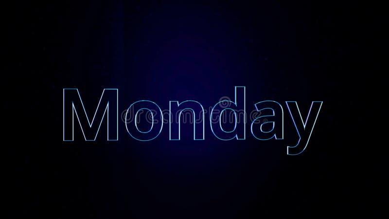 Parola lunedì del testo di animazione Giorno di animazione della settimana il lunedì con i profili audaci su fondo nero royalty illustrazione gratis