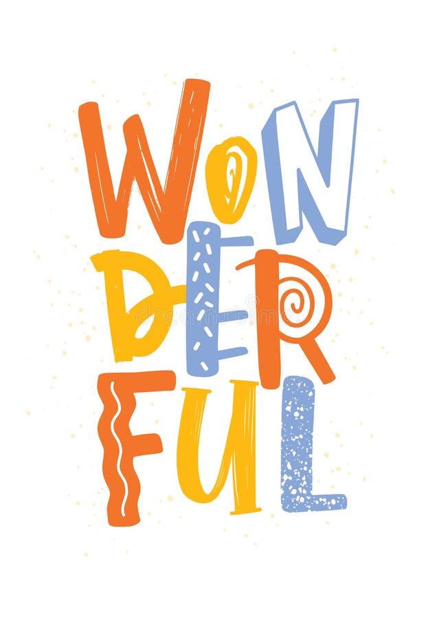 Parola meravigliosa scritta con le lettere di colore e di struttura differenti Iscrizione viva moderna della mano isolata su bian illustrazione vettoriale