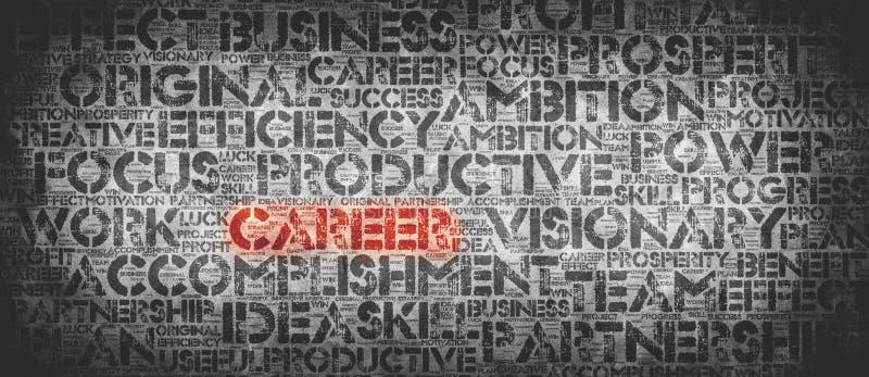 Parola rossa di CARRIERA circondata dalle parole relative al lavoro illustrazione di stock