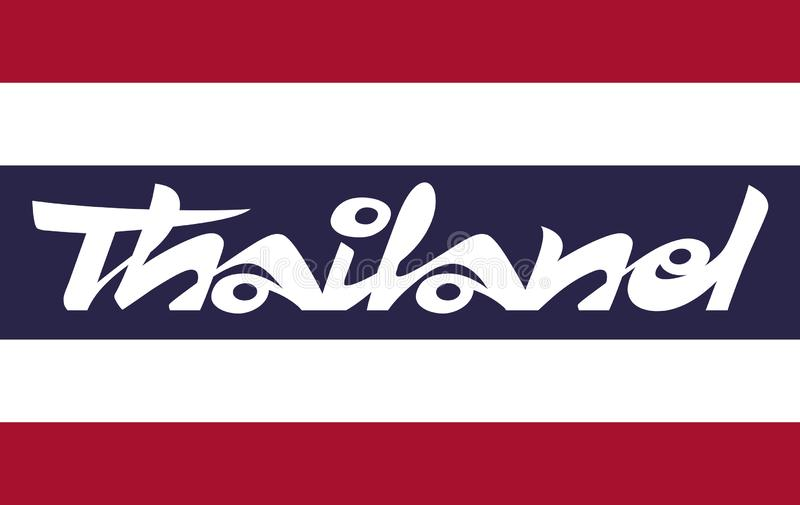 Parola scritta a mano Tailandia sulla bandiera tailandese illustrazione vettoriale