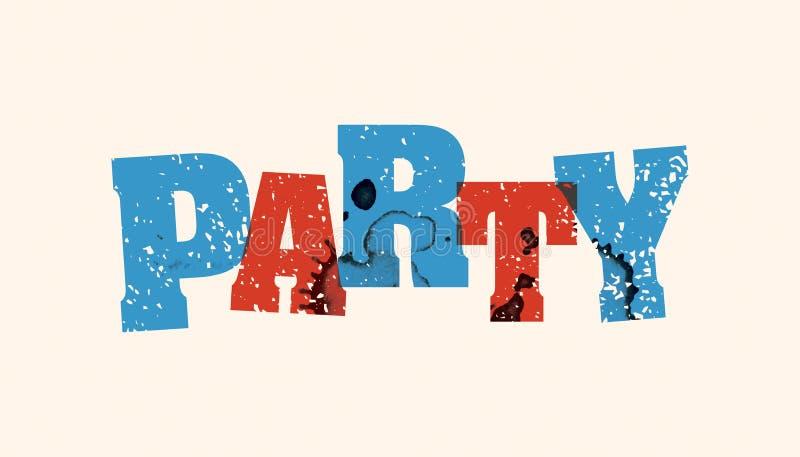 Parola timbrata concetto Art Illustration del partito illustrazione vettoriale