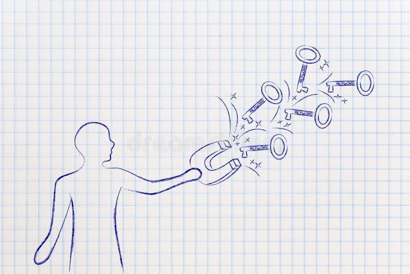 Parole chiavi per raggiungere successo, uomo con le chiavi di cattura del magnete illustrazione vettoriale
