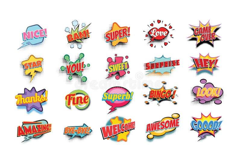 Parole del libro di fumetti fissate royalty illustrazione gratis