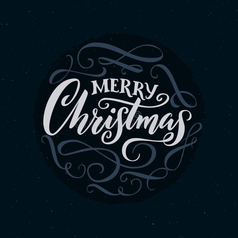 Parole di calligrafia di Buon Natale con gli sciabordii Tipografia decorata per le carte illustrazione vettoriale
