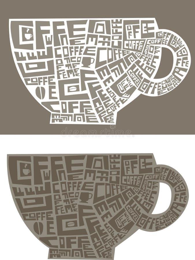 Parole di una tazza di caffè illustrazione di stock