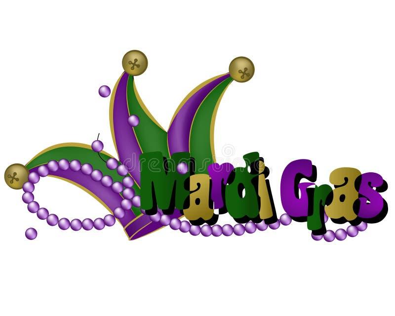 Parole e cappello di Mardi Gras illustrazione vettoriale