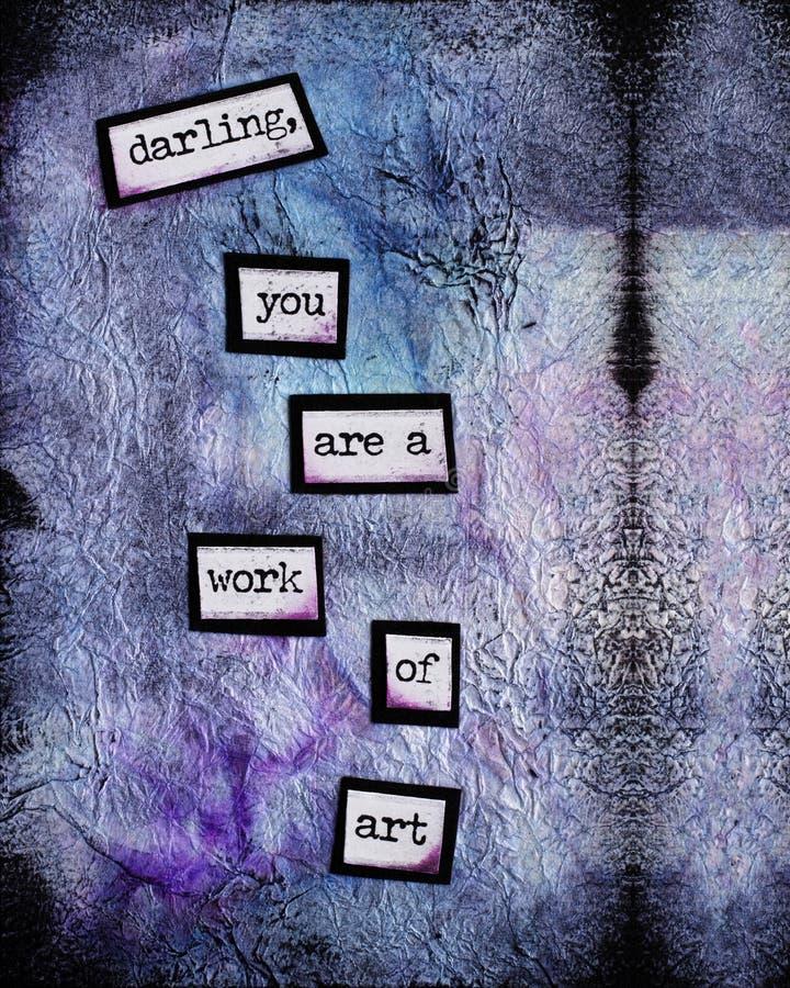 Parole incoraggianti su un fondo astratto porpora e blu fotografie stock