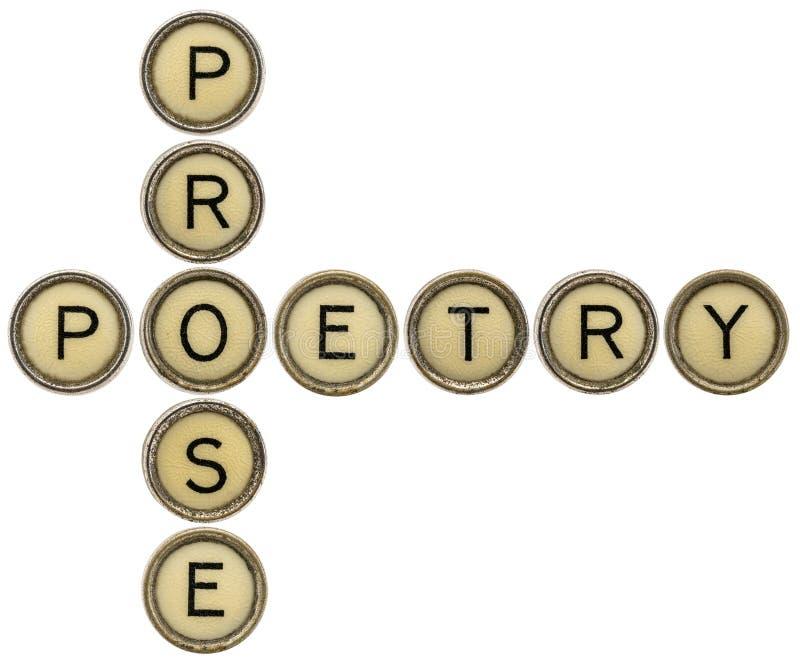 Parole incrociate di prosa e di poesia fotografia stock libera da diritti