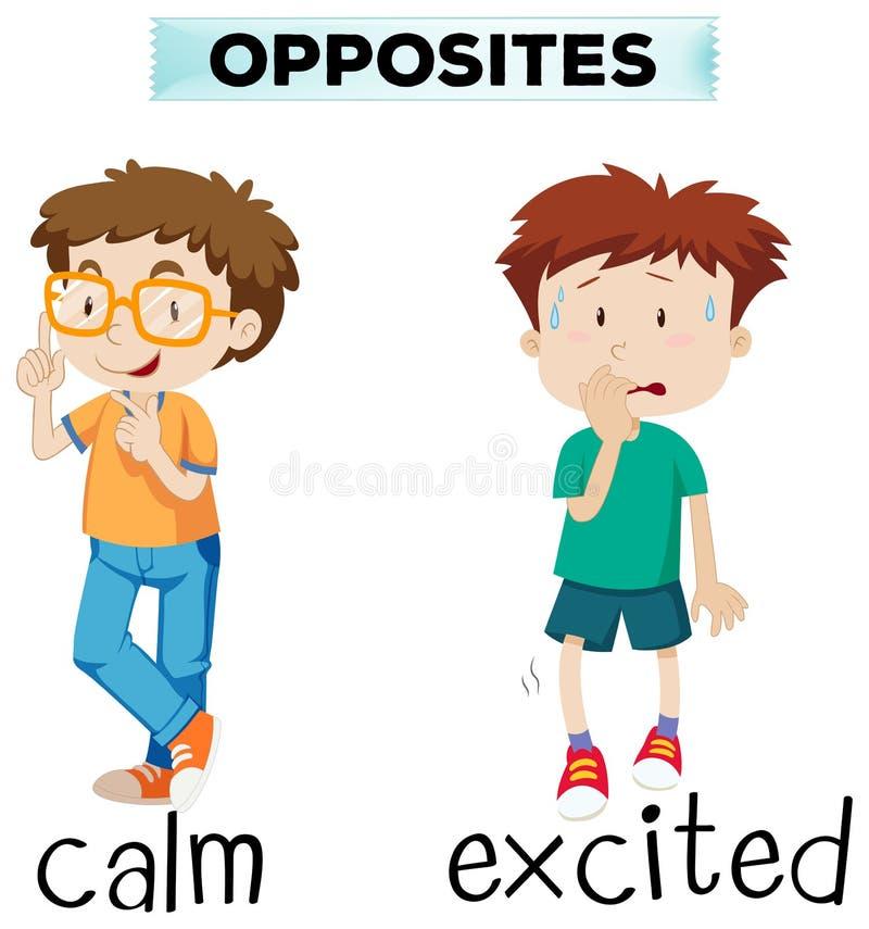 Parole opposte per calmo ed emozionante illustrazione vettoriale