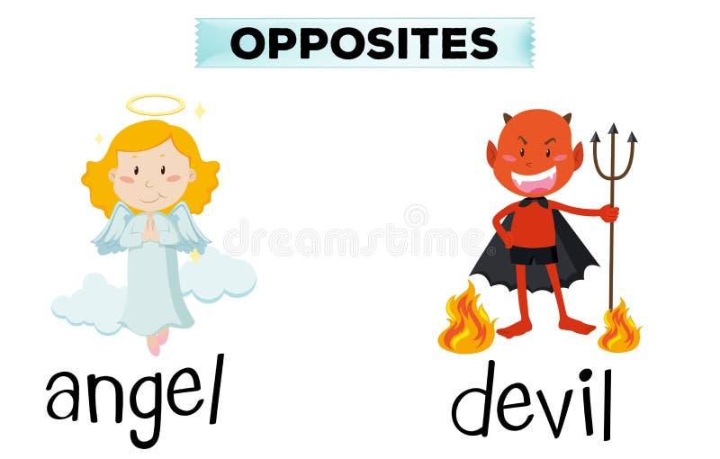 Parole opposte per l'angelo ed il diavolo illustrazione di stock
